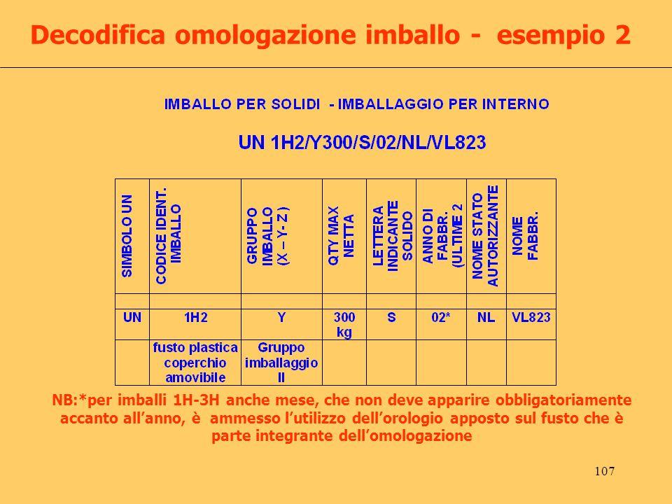 107 Decodifica omologazione imballo - esempio 2 NB:*per imballi 1H-3H anche mese, che non deve apparire obbligatoriamente accanto allanno, è ammesso l