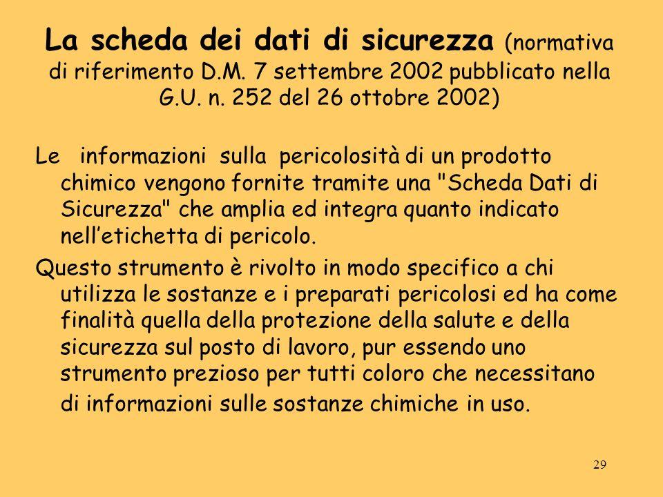 29 La scheda dei dati di sicurezza (normativa di riferimento D.M. 7 settembre 2002 pubblicato nella G.U. n. 252 del 26 ottobre 2002) Le informazioni s