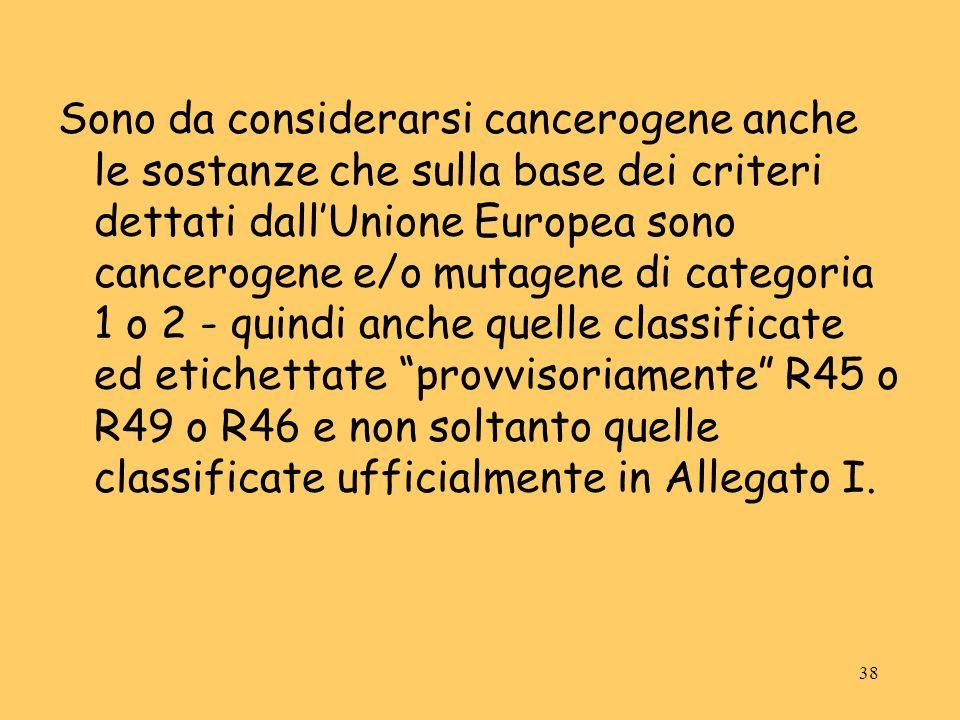 38 Sono da considerarsi cancerogene anche le sostanze che sulla base dei criteri dettati dallUnione Europea sono cancerogene e/o mutagene di categoria