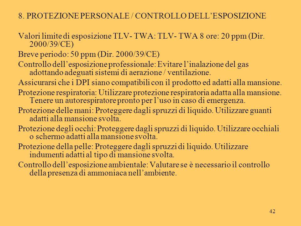 42 8. PROTEZIONE PERSONALE / CONTROLLO DELLESPOSIZIONE Valori limite di esposizione TLV- TWA: TLV- TWA 8 ore: 20 ppm (Dir. 2000/39/CE) Breve periodo:
