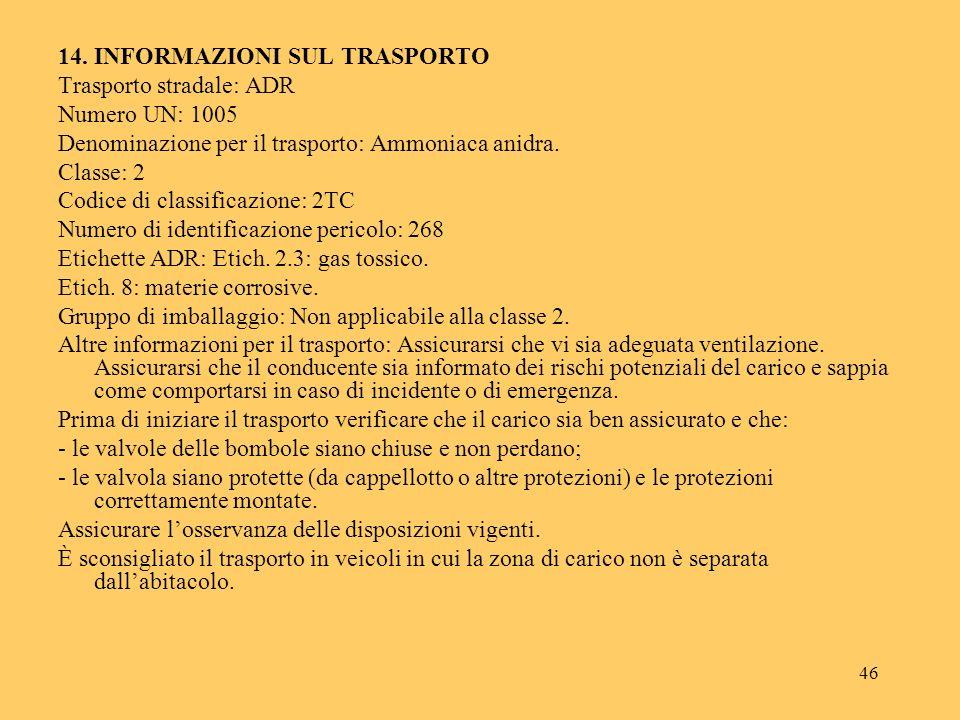 46 14. INFORMAZIONI SUL TRASPORTO Trasporto stradale: ADR Numero UN: 1005 Denominazione per il trasporto: Ammoniaca anidra. Classe: 2 Codice di classi