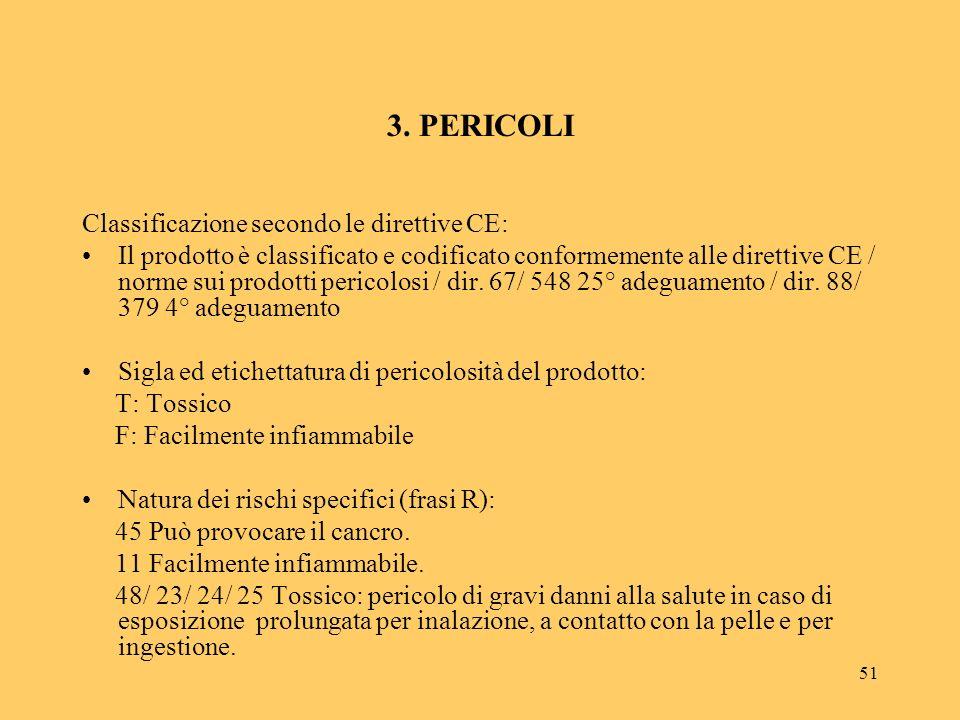 51 3. PERICOLI Classificazione secondo le direttive CE: Il prodotto è classificato e codificato conformemente alle direttive CE / norme sui prodotti p