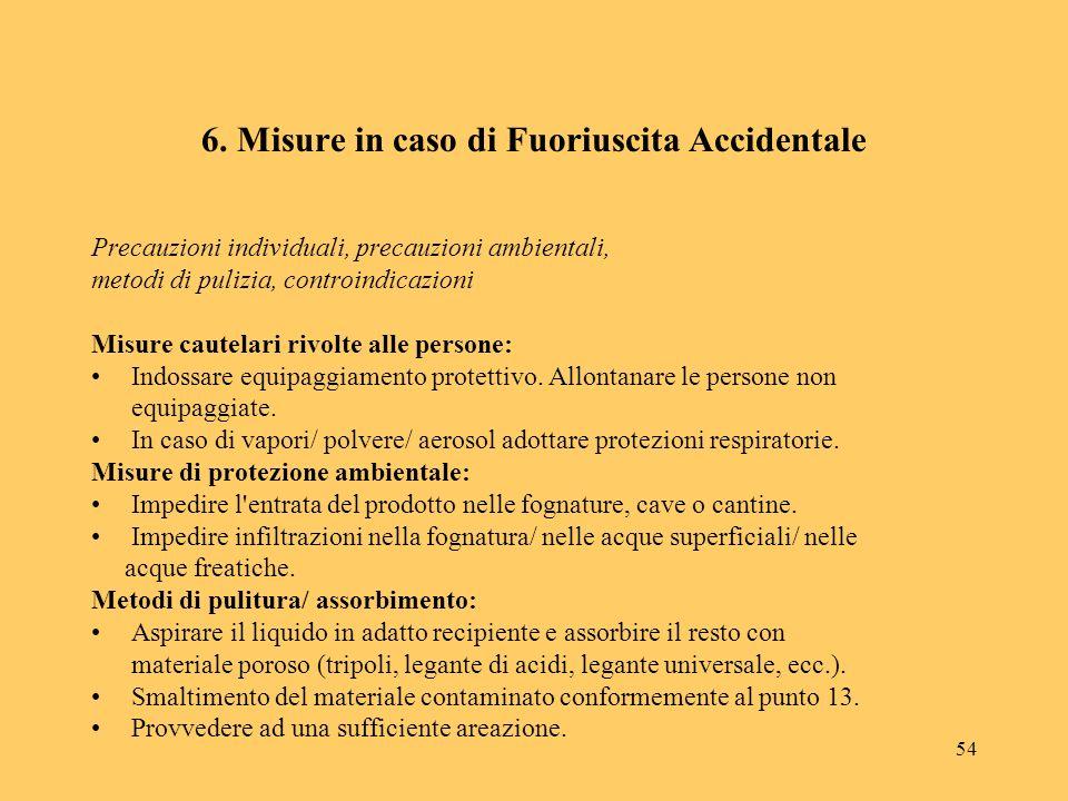 54 6. Misure in caso di Fuoriuscita Accidentale Precauzioni individuali, precauzioni ambientali, metodi di pulizia, controindicazioni Misure cautelari