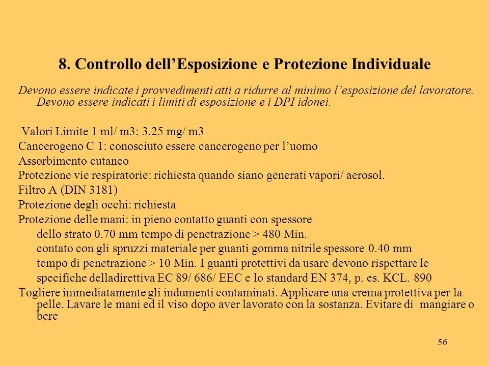 56 8. Controllo dellEsposizione e Protezione Individuale Devono essere indicate i provvedimenti atti a ridurre al minimo lesposizione del lavoratore.