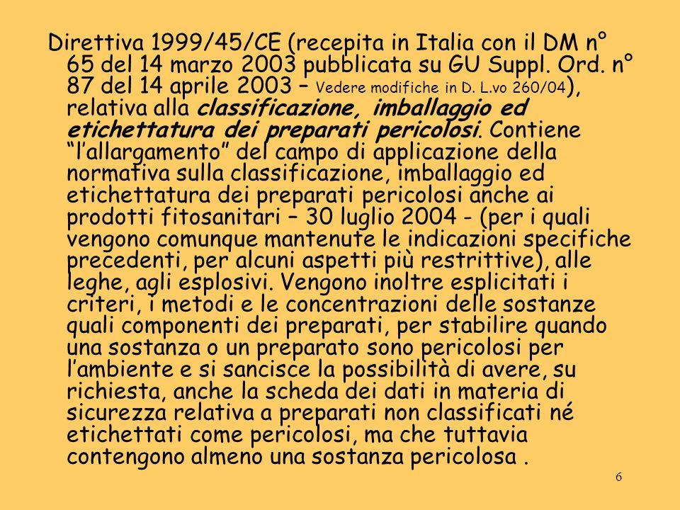 6 Direttiva 1999/45/CE (recepita in Italia con il DM n° 65 del 14 marzo 2003 pubblicata su GU Suppl. Ord. n° 87 del 14 aprile 2003 – Vedere modifiche