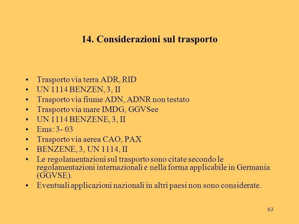 63 14. Considerazioni sul trasporto Trasporto via terra ADR, RID UN 1114 BENZEN, 3, II Trasporto via fiume ADN, ADNR non testato Trasporto via mare IM