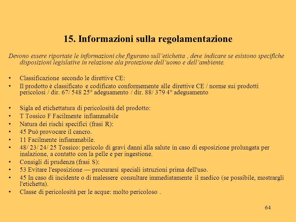 64 15. Informazioni sulla regolamentazione Devono essere riportate le informazioni che figurano sulletichetta, deve indicare se esistono specifiche di