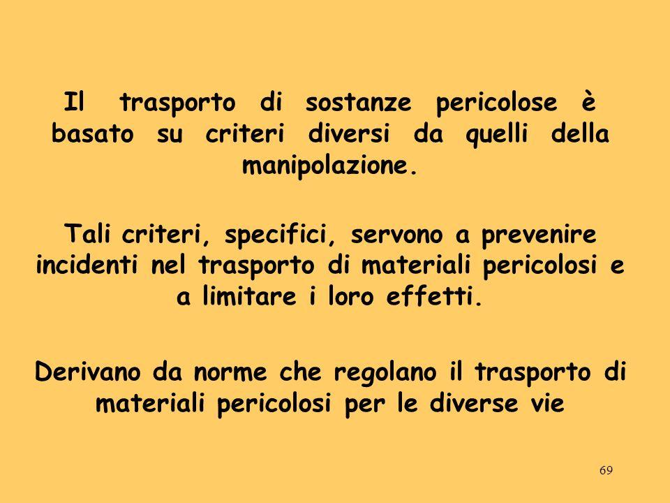 69 Il trasporto di sostanze pericolose è basato su criteri diversi da quelli della manipolazione. Tali criteri, specifici, servono a prevenire inciden