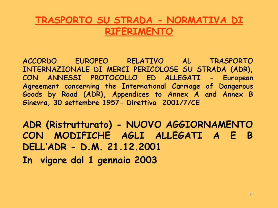 71 TRASPORTO SU STRADA - NORMATIVA DI RIFERIMENTO ACCORDO EUROPEO RELATIVO AL TRASPORTO INTERNAZIONALE DI MERCI PERICOLOSE SU STRADA (ADR), CON ANNESS