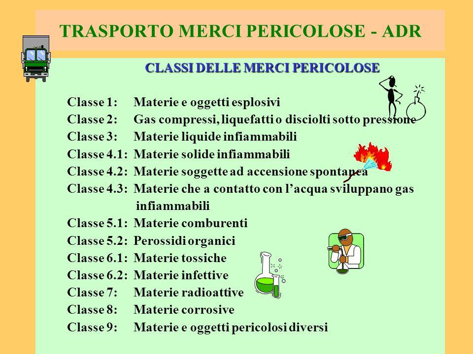 77 TRASPORTO MERCI PERICOLOSE - ADR CLASSI DELLE MERCI PERICOLOSE Classe 1: Materie e oggetti esplosivi Classe 2: Gas compressi, liquefatti o disciolt