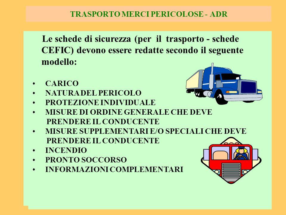 84 TRASPORTO MERCI PERICOLOSE - ADR Le schede di sicurezza (per il trasporto - schede CEFIC) devono essere redatte secondo il seguente modello: CARICO