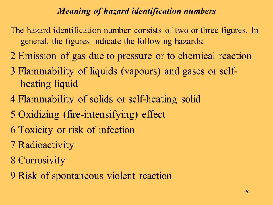 96 Meaning of hazard identification numbers The hazard identification number consists of two or three figures.