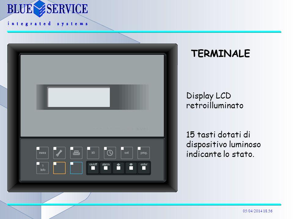 05/04/2014 18.57 TERMINALE Display LCD retroilluminato 15 tasti dotati di dispositivo luminoso indicante lo stato.