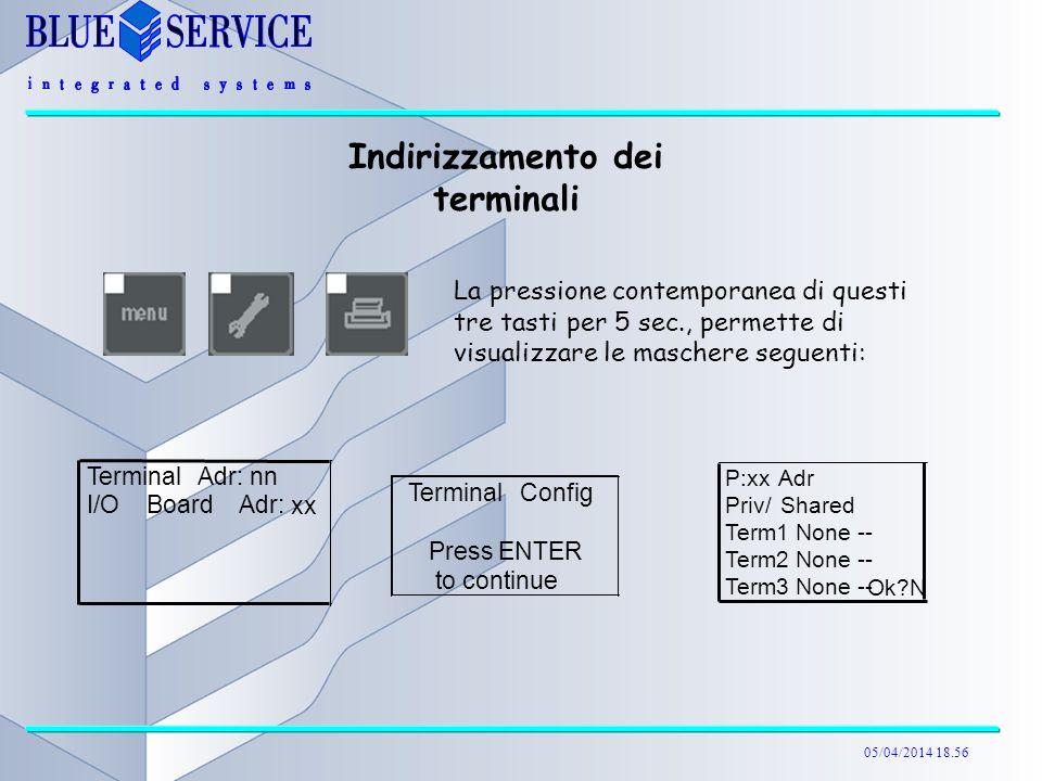 05/04/2014 18.57 La pressione contemporanea di questi tre tasti per 5 sec., permette di visualizzare le maschere seguenti: TerminalConfig Press ENTER to continue Indirizzamento dei terminali TerminalAdr: nn I/OBoardAdr: xx P:xxAdr Priv/Shared Term1 None -- Term2 None -- Term3 None -- Ok?N