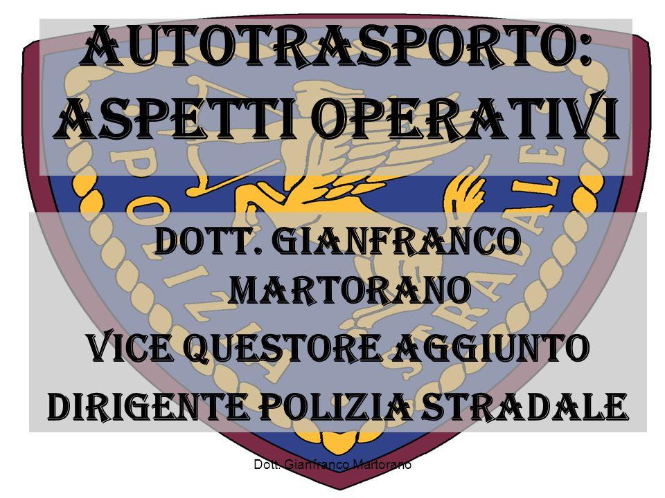 Dott. Gianfranco Martorano AUTOTRASPORTO: ASPETTI OPERATIVI DOTT. GIANFRANCO MARTORANO VICE QUESTORE AGGIUNTO DIRIGENTE POLIZIA STRADALE