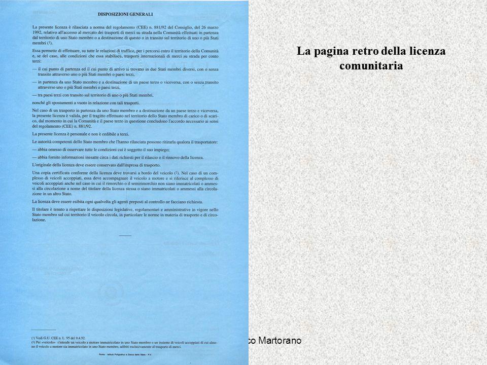 Dott. Gianfranco Martorano La pagina retro della licenza comunitaria