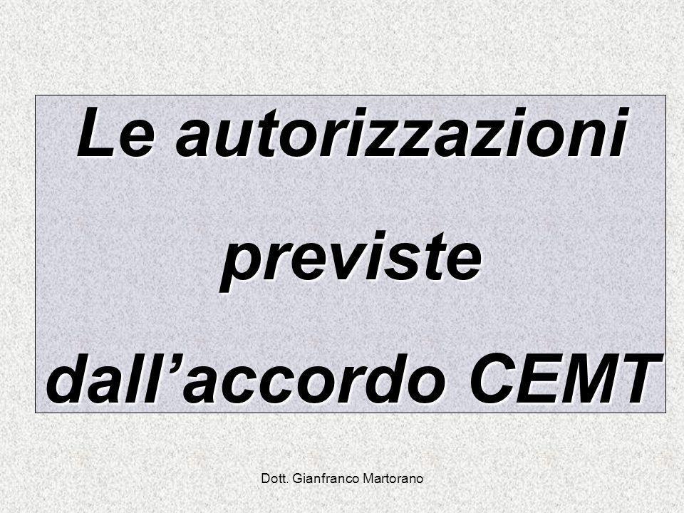 Le autorizzazioni previste dallaccordo CEMT