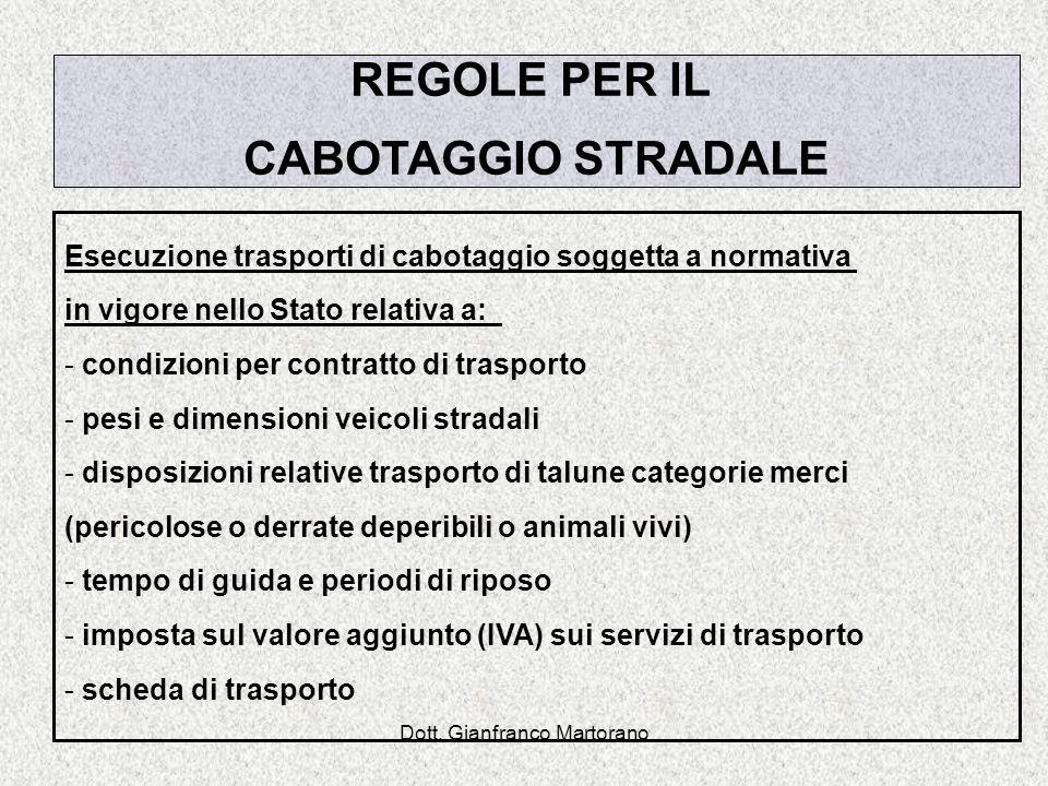 Dott. Gianfranco Martorano REGOLE PER IL CABOTAGGIO STRADALE Esecuzione trasporti di cabotaggio soggetta a normativa in vigore nello Stato relativa a: