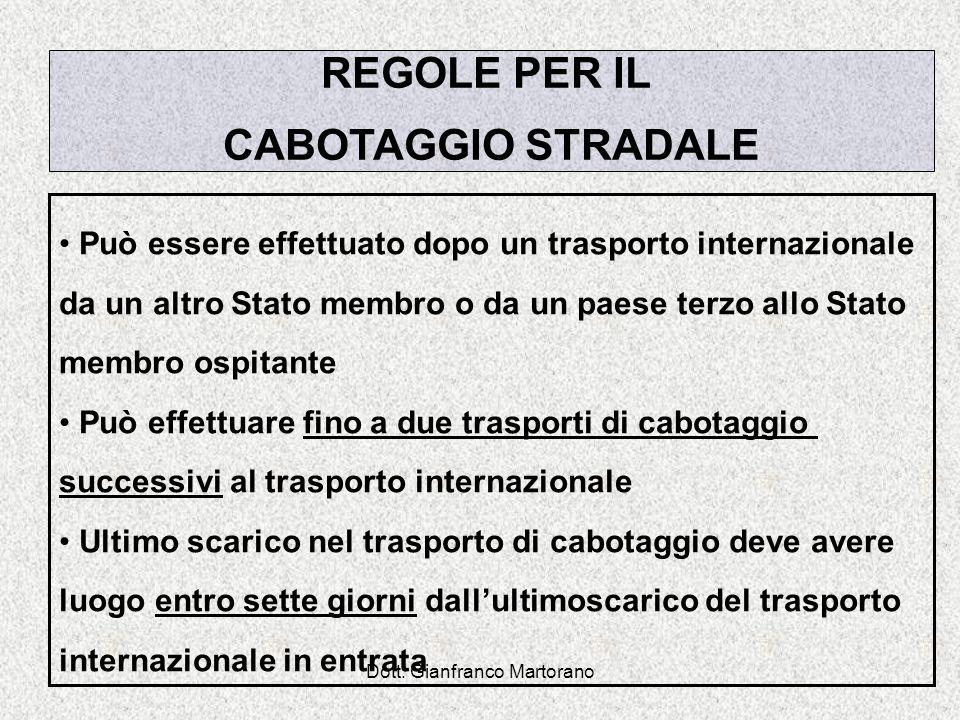 Dott. Gianfranco Martorano REGOLE PER IL CABOTAGGIO STRADALE Può essere effettuato dopo un trasporto internazionale da un altro Stato membro o da un p