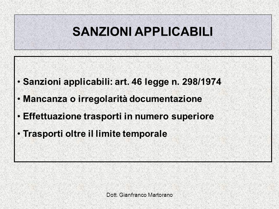 Dott. Gianfranco Martorano SANZIONI APPLICABILI Sanzioni applicabili: art. 46 legge n. 298/1974 Mancanza o irregolarità documentazione Effettuazione t