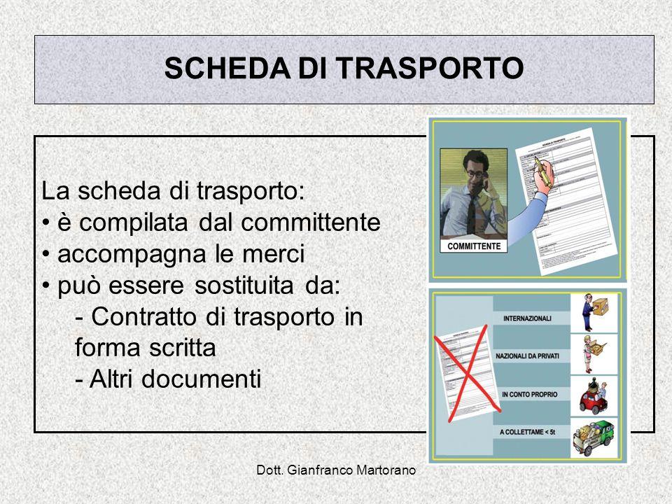 Dott. Gianfranco Martorano SCHEDA DI TRASPORTO La scheda di trasporto: è compilata dal committente accompagna le merci può essere sostituita da: - Con