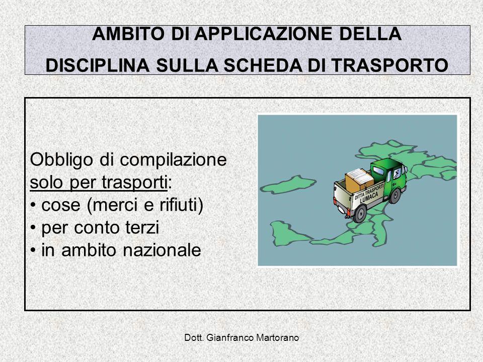 Dott. Gianfranco Martorano AMBITO DI APPLICAZIONE DELLA DISCIPLINA SULLA SCHEDA DI TRASPORTO Obbligo di compilazione solo per trasporti: cose (merci e