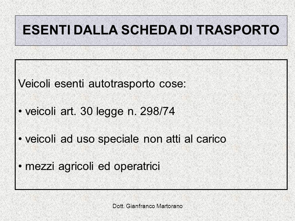 Dott. Gianfranco Martorano ESENTI DALLA SCHEDA DI TRASPORTO Veicoli esenti autotrasporto cose: veicoli art. 30 legge n. 298/74 veicoli ad uso speciale