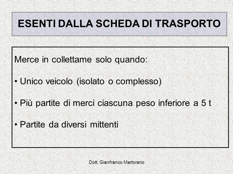 Dott. Gianfranco Martorano ESENTI DALLA SCHEDA DI TRASPORTO Merce in collettame solo quando: Unico veicolo (isolato o complesso) Più partite di merci