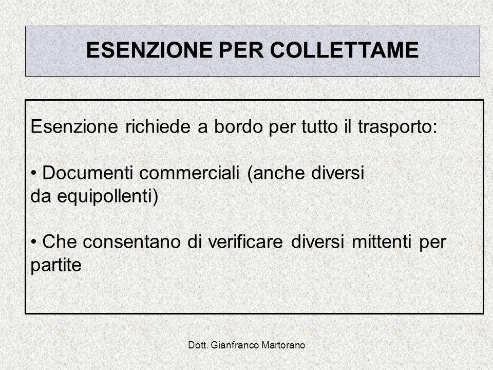 Dott. Gianfranco Martorano ESENZIONE PER COLLETTAME Esenzione richiede a bordo per tutto il trasporto: Documenti commerciali (anche diversi da equipol