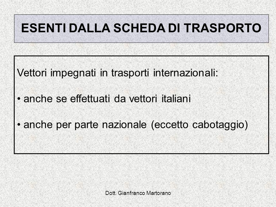 Dott. Gianfranco Martorano ESENTI DALLA SCHEDA DI TRASPORTO Vettori impegnati in trasporti internazionali: anche se effettuati da vettori italiani anc