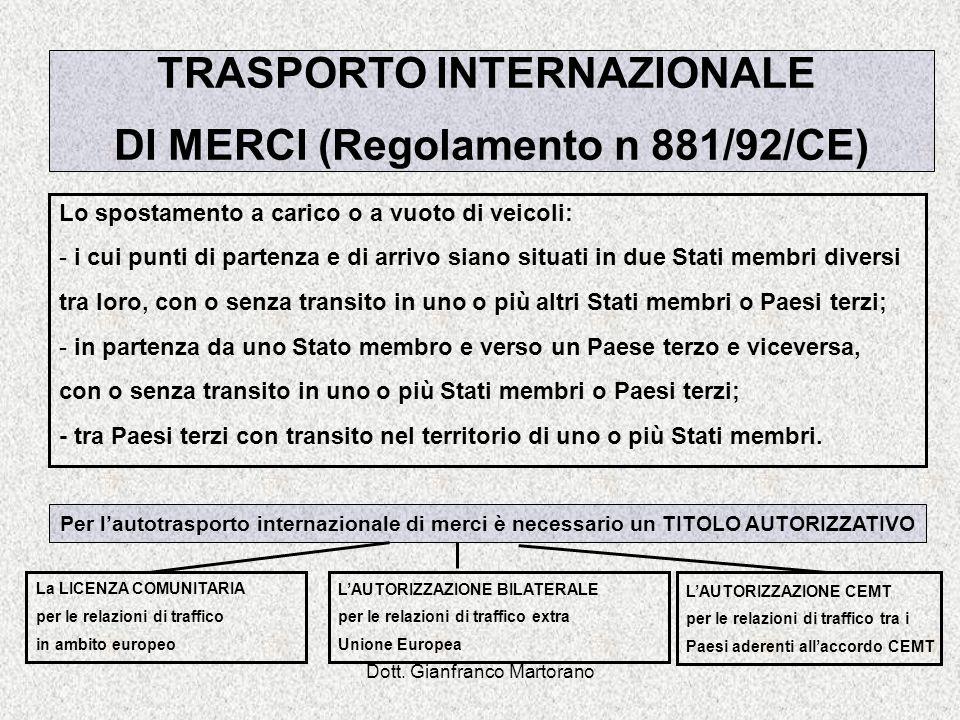 Dott. Gianfranco Martorano TRASPORTO INTERNAZIONALE DI MERCI (Regolamento n 881/92/CE) Lo spostamento a carico o a vuoto di veicoli: - i cui punti di