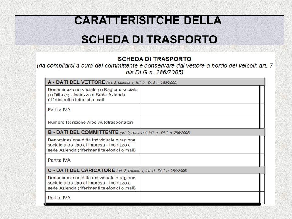 Dott. Gianfranco Martorano CARATTERISITCHE DELLA SCHEDA DI TRASPORTO