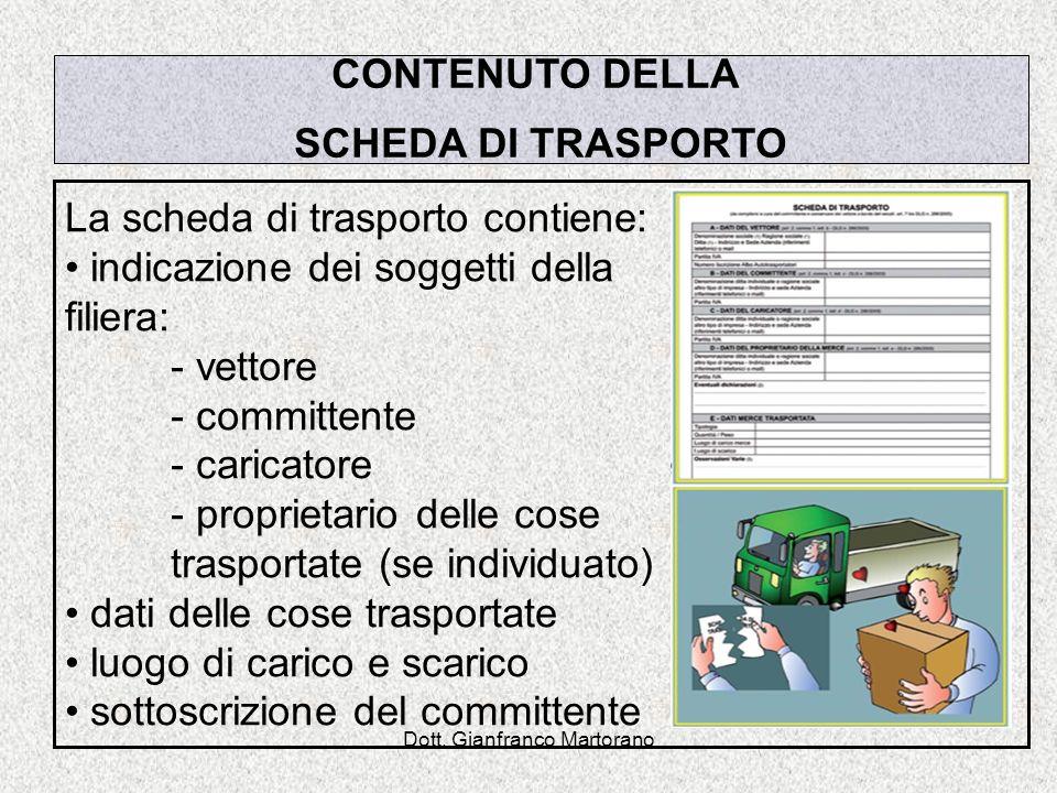 Dott. Gianfranco Martorano CONTENUTO DELLA SCHEDA DI TRASPORTO La scheda di trasporto contiene: indicazione dei soggetti della filiera: - vettore - co