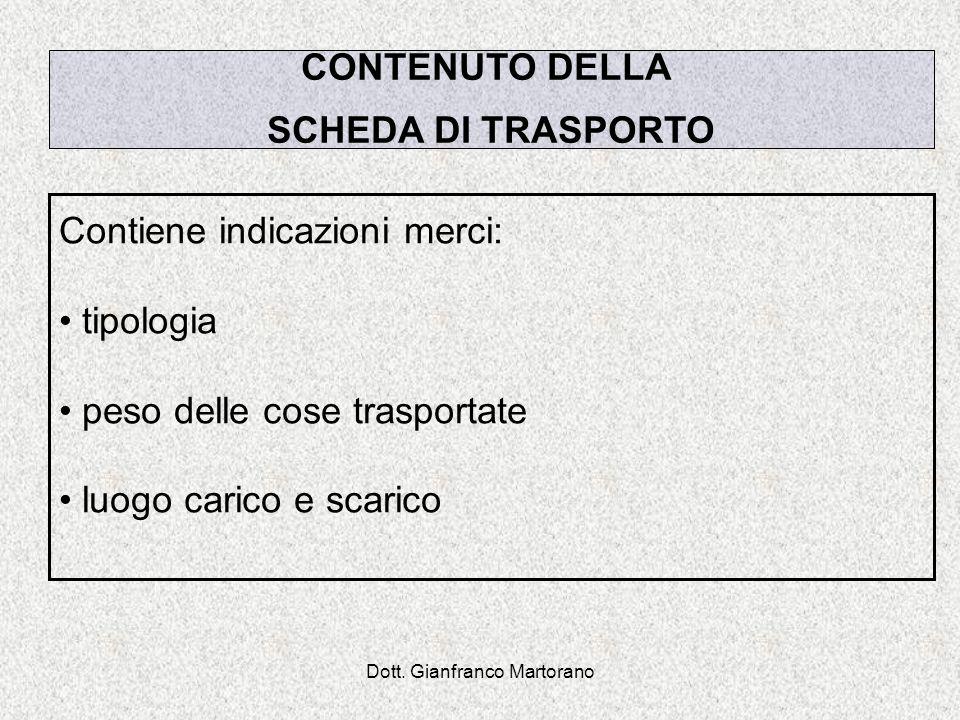 Dott. Gianfranco Martorano Contiene indicazioni merci: tipologia peso delle cose trasportate luogo carico e scarico CONTENUTO DELLA SCHEDA DI TRASPORT