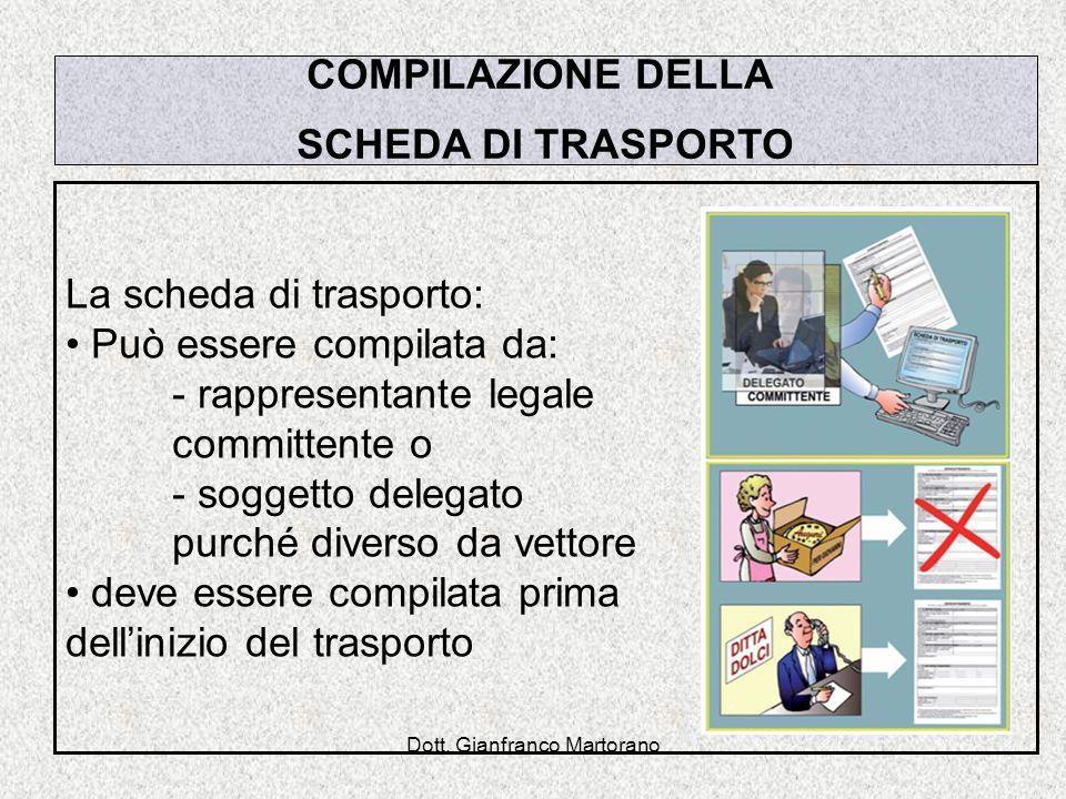 Dott. Gianfranco Martorano COMPILAZIONE DELLA SCHEDA DI TRASPORTO La scheda di trasporto: Può essere compilata da: - rappresentante legale committente