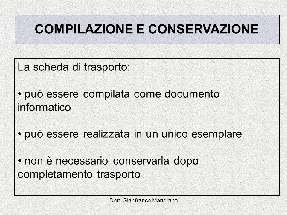 Dott. Gianfranco Martorano La scheda di trasporto: può essere compilata come documento informatico può essere realizzata in un unico esemplare non è n