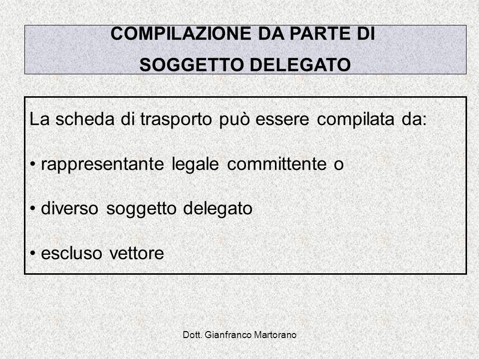 Dott. Gianfranco Martorano La scheda di trasporto può essere compilata da: rappresentante legale committente o diverso soggetto delegato escluso vetto