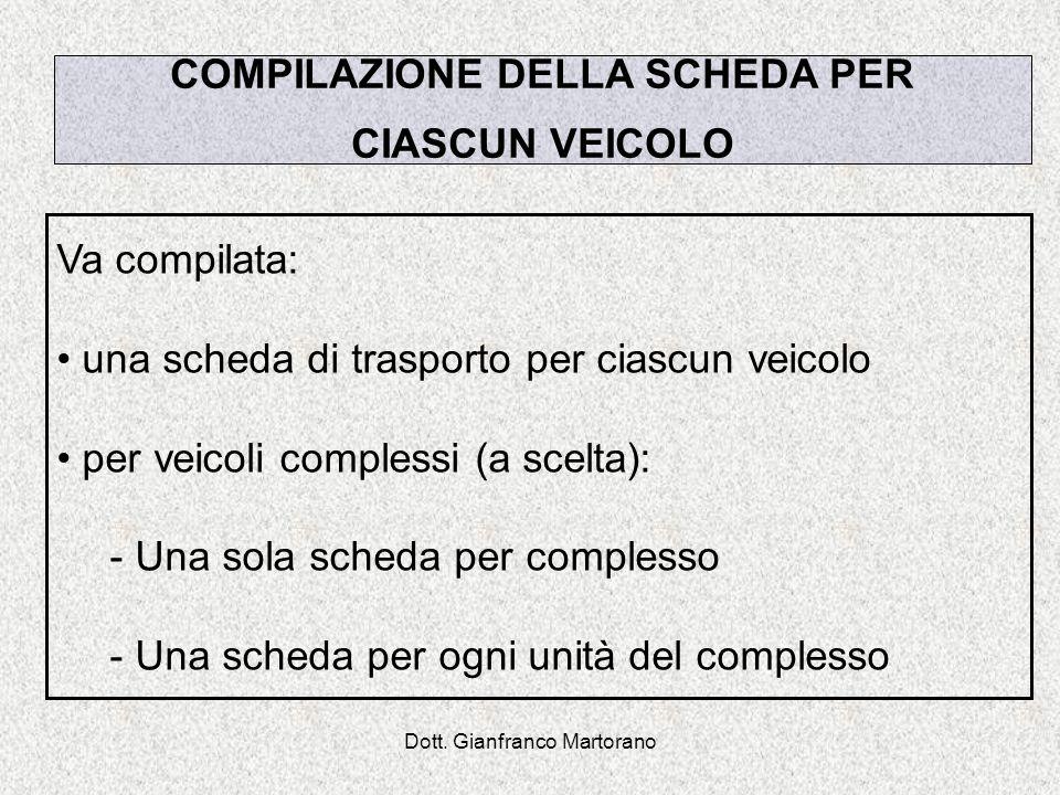 Dott. Gianfranco Martorano Va compilata: una scheda di trasporto per ciascun veicolo per veicoli complessi (a scelta): - Una sola scheda per complesso