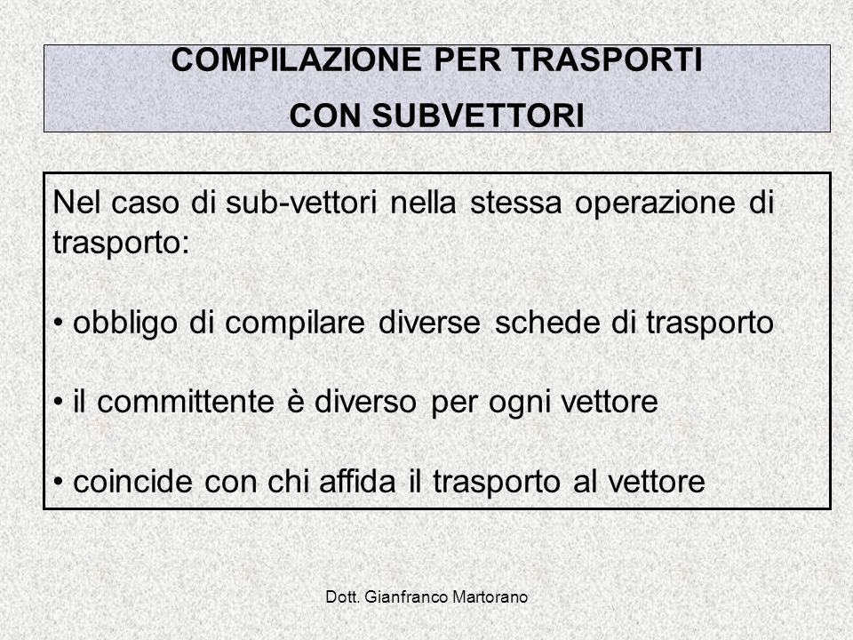 Dott. Gianfranco Martorano Nel caso di sub-vettori nella stessa operazione di trasporto: obbligo di compilare diverse schede di trasporto il committen