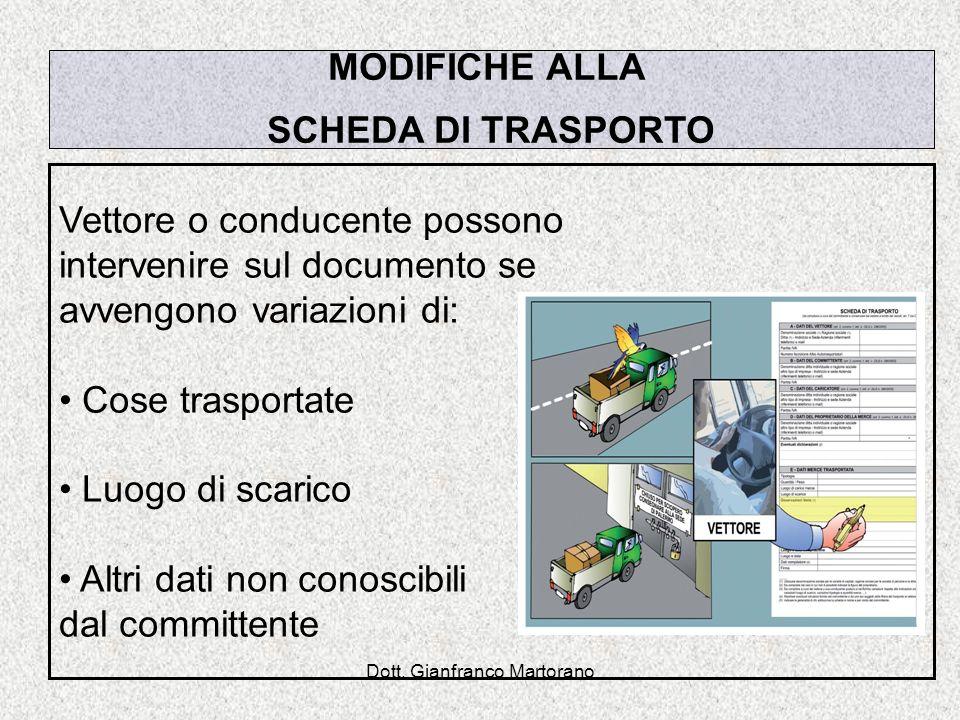 Dott. Gianfranco Martorano MODIFICHE ALLA SCHEDA DI TRASPORTO Vettore o conducente possono intervenire sul documento se avvengono variazioni di: Cose