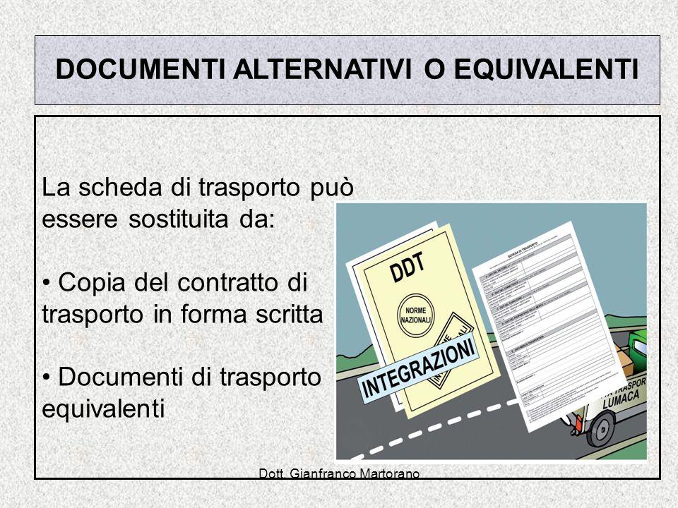 Dott. Gianfranco Martorano DOCUMENTI ALTERNATIVI O EQUIVALENTI La scheda di trasporto può essere sostituita da: Copia del contratto di trasporto in fo