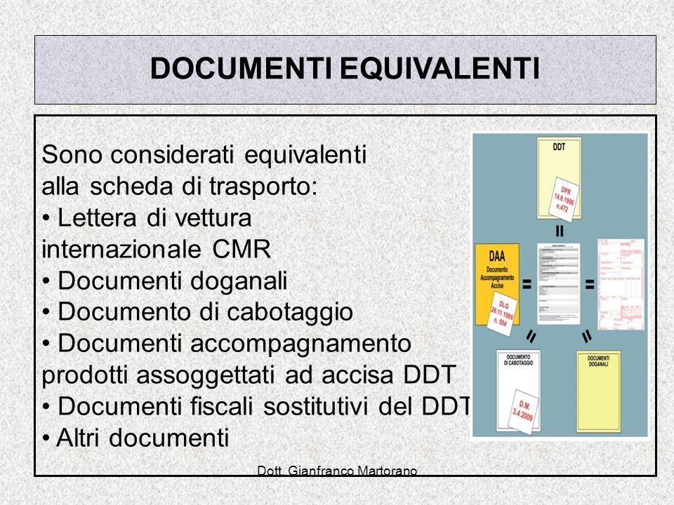 Dott. Gianfranco Martorano DOCUMENTI EQUIVALENTI Sono considerati equivalenti alla scheda di trasporto: Lettera di vettura internazionale CMR Document