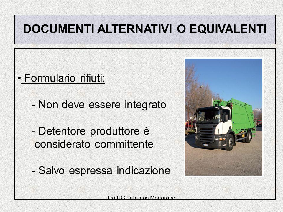 Dott. Gianfranco Martorano DOCUMENTI ALTERNATIVI O EQUIVALENTI Formulario rifiuti: - Non deve essere integrato - Detentore produttore è considerato co