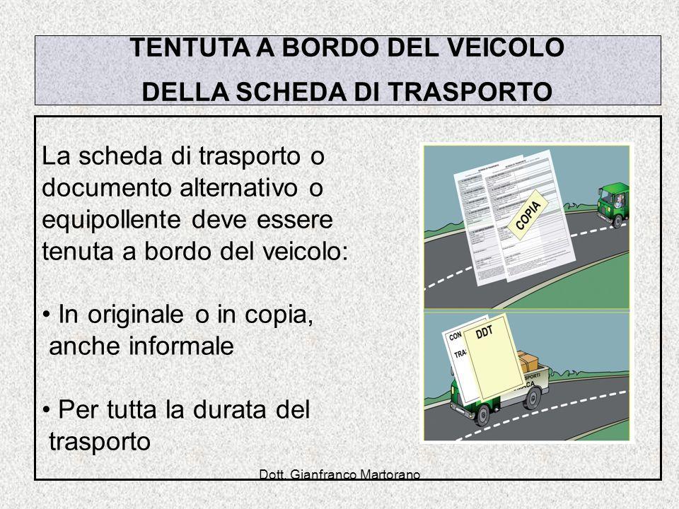 Dott. Gianfranco Martorano TENTUTA A BORDO DEL VEICOLO DELLA SCHEDA DI TRASPORTO La scheda di trasporto o documento alternativo o equipollente deve es