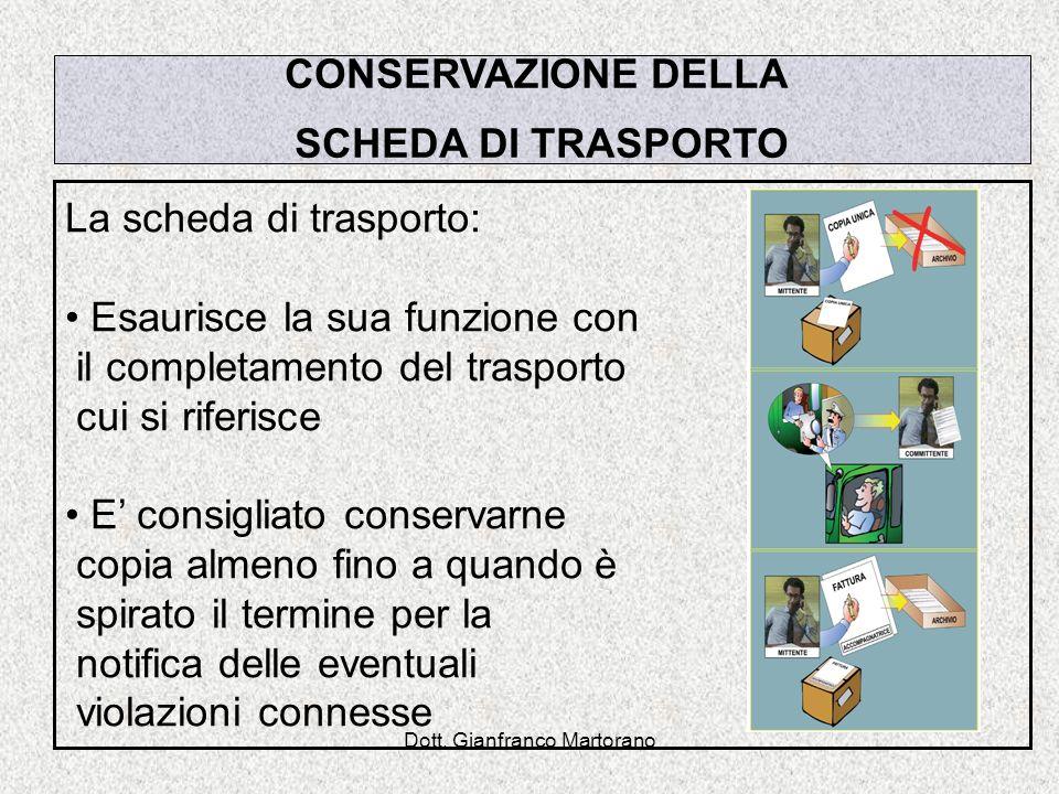 Dott. Gianfranco Martorano CONSERVAZIONE DELLA SCHEDA DI TRASPORTO La scheda di trasporto: Esaurisce la sua funzione con il completamento del trasport