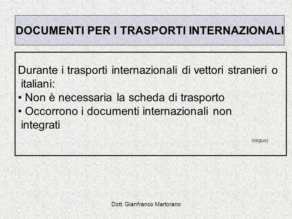 Dott. Gianfranco Martorano Durante i trasporti internazionali di vettori stranieri o italiani: Non è necessaria la scheda di trasporto Occorrono i doc