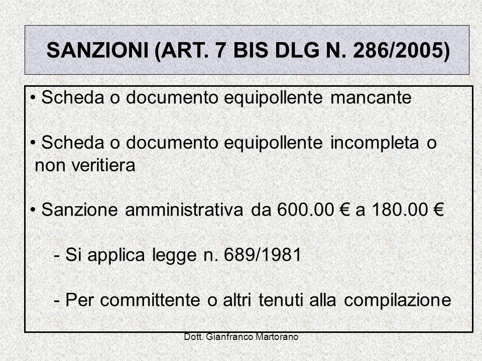 Dott. Gianfranco Martorano Scheda o documento equipollente mancante Scheda o documento equipollente incompleta o non veritiera Sanzione amministrativa