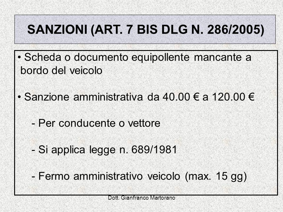 Dott. Gianfranco Martorano Scheda o documento equipollente mancante a bordo del veicolo Sanzione amministrativa da 40.00 a 120.00 - Per conducente o v