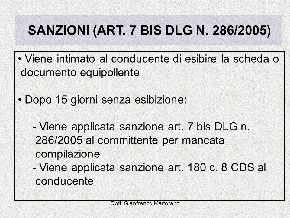 Dott. Gianfranco Martorano Viene intimato al conducente di esibire la scheda o documento equipollente Dopo 15 giorni senza esibizione: - Viene applica