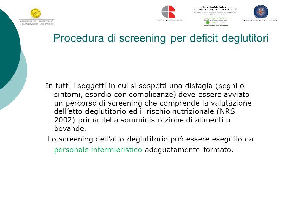 Procedura di screening per deficit deglutitori In tutti i soggetti in cui si sospetti una disfagia (segni o sintomi, esordio con complicanze) deve ess
